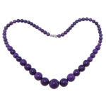 Gemstone Necklaces, Purple Stone, Round, smooth, 6-14mm, Sold Per 17.5 Inch Strand
