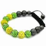 Rhinestone Shamballa Bracelets, with Wax Cord & Hematite, woven, Customized, more colors for choice, 10mm, Sold Per Approx 7-11 Inch Strand