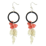 Coral Drop Earring, Natural Coral, with Black Agate, brass earring hook, more colors for choice, 20x75mm, Sold By Pair