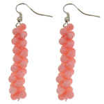 Natural Coral Drop Earring, brass earring hook, more colors for choice, 9x58mm, Sold By Pair