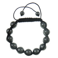 Non magnetic Hematite Shamballa Bracelet, with Wax, Round, black, 12mm, Sold Per Approx 7.5 Inch Strand