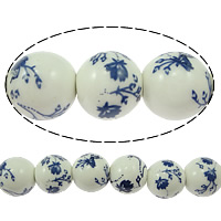 Blue and White Porcelain Beads, Round, printing, with flower pattern, 12x11mm, Hole:Approx 3mm, Length:Approx 15 Inch, 32PCs/Strand, Sold By Strand