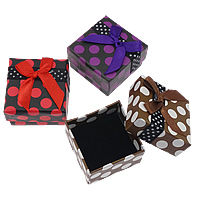 Paper Single Ring Box, with Satin Ribbon & Velveteen, Square, with round spot pattern, more colors for choice, 52x52x32mm, 24PCs/Bag, Sold By Bag