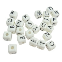 Printing Porcelain Beads, Cube, with letter pattern & mixed, white, 9mm, Hole:Approx 3mm, Sold By PC