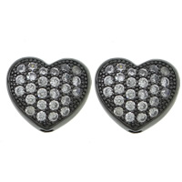 Cubic Zirconia Micro Pave Brass Beads, Heart, plated, micro pave cubic zirconia & hollow, more colors for choice, cadmium free, 9x8x4mm, Hole:Approx 1.5mm, Sold By PC