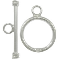 Sterling Silver Toggle Clasp, 925 Sterling Silver, Round, plated, smooth & single-strand, more colors for choice, 29mm,19mm, Hole:Approx 3mm, Sold By Set