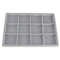 Velveteen Display Case, with Cardboard, Rectangle, grey, 355x240x30mm, Sold By PC