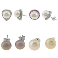 Sterling Silver Natural Pearl Stud Earring