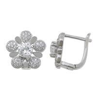 Sterling Silver Cubic Zirconia Earring, 925 Sterling Silver, Flower, plated, micro pave cubic zirconia, more colors for choice, 15x15mm, Sold By Pair