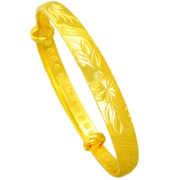 Brass Bangle, 24K gold plated, flower cut & adjustable, lead & cadmium free, 9mm, Inner Diameter:Approx 60mm, Length:Approx 7.5 Inch, Sold By PC