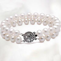 Freshwater Pearl Bracelet, brass box clasp, natural, 2-strand, white, 7-8mm, Sold Per Approx 7 Inch Strand
