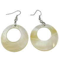 White Shell Earrings, brass earring hook, Donut, platinum color plated, 35x60x3mm, Sold By Pair