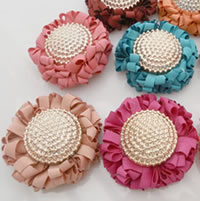 Fashion Decoration Flowers, Chiffon, with Copper Coated Plastic, gold color plated, mixed colors, 40mm, 100PCs/Bag, Sold By Bag