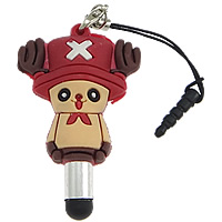 Soft PVC Earphone Dust Jack Cap Plug, with Plastic & Aluminum & Stainless Steel, Cartoon, with screen pen, multi-colored, 32x51x15mm, 4mm, 4.5mm, Sold By PC