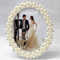 Plastic Photo Frame, ABS Plastic, Oval, imitation pearl & with rhinestone, white, 8x10cm, Sold By PC