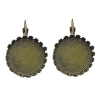 Brass Lever Back Earring Blank, Flat Round, plated, more colors for choice, cadmium free, 22x33x3mm, Inner Diameter:Approx 20.5mm, Sold By Pair