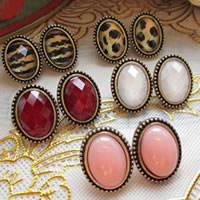 Resin Zinc Alloy Earring, Oval, antique bronze color plated, mixed colors, nickel, lead & cadmium free, 50Pairs/Bag, Sold By Bag