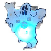 Halloween Brooch, Resin, with Plastic & Iron, Ghost, Halloween Jewelry Gift & LED, white, 23x26x11mm, Sold By PC