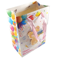Gift Shopping Bag, Paper, with Satin Ribbon, Rectangle, printing, different size for choice & Customized, multi-colored, Sold By Lot