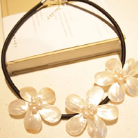 Shell Freshwater Pearl Necklace, White Shell, with leather cord, zinc alloy lobster clasp, with 5cm extender chain, Flower, gold color plated, nickel, lead & cadmium free, 5.4cm, Length:Approx 20 Inch, 10Strands/Bag, Sold By Bag