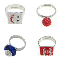 Rhinestone Brass Finger Ring