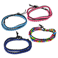 Glass Wrap Bracelet, with Wax Cord, zinc alloy clasp, platinum color plated, Customized & rubberized & 2-strand, more colors for choice, 5mm, 7mm, Sold Per Approx 13.5-15 Inch Strand