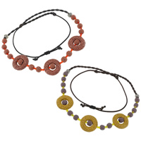 Lava Shamballa Necklace, with Wax Cord & Crystal & Copper Coated Plastic, antique silver color plated, more colors for choice, 33x8mm, 11mm, Sold Per 22-33 Inch Strand