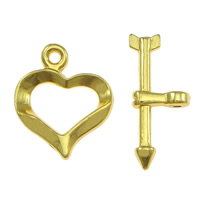 Brass Toggle Clasp, Heart, plated, single-strand, more colors for choice, cadmium free, 13x15x1.5mm, 7.5x18x3mm, Hole:Approx 1mm, Sold By Set