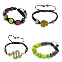 Rhinestone Woven Ball Bracelets