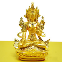 Brass White Tara, gold color plated, Buddhist jewelry & with rhinestone, lead & cadmium free, 110x60mm, Sold By PC