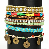 Fashion Brazilian Hipanema Bracelet, Nylon Cord, with Plastic Sequin & Velveteen Ribbon & Wax & Glass Seed Beads, zinc alloy magnetic clasp, plated, multi-strand, multi-colored, nickel, lead & cadmium free, 60mm, Sold Per Approx 7.5 Inch Strand