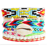 Fashion Brazilian Hipanema Bracelet, Nylon Cord, with PU cord & Satin Ribbon & Shell & Glass Seed Beads, zinc alloy magnetic clasp, platinum color plated, multi-strand, multi-colored, lead & cadmium free, 60mm, Sold Per Approx 7.5 Inch Strand
