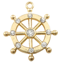 Zinc Alloy Ship Wheel & Anchor Pendant, plated, Customized & with rhinestone, more colors for choice, nickel, lead & cadmium free, 25x28mm, Hole:Approx 1mm, Sold By PC