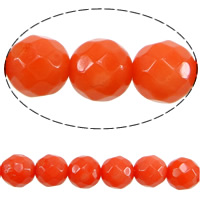 Natural Coral Beads, Round, faceted, orange, Grade A, Hole:Approx 1mm, Length:15.5 Inch, Sold By Strand