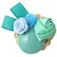 Porcelain Costume Accessories, with Satin Ribbon & Resin & Iron, Flower, glazed, green, 56x42x16mm, Sold By PC