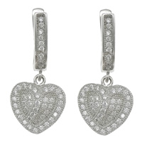 Cubic Zirconia Micro Pave Sterling Silver Earring, 925 Sterling Silver, Heart, plated, micro pave 86 pcs cubic zirconia, more colors for choice, 12x13x4mm, 27mm, Sold By Pair