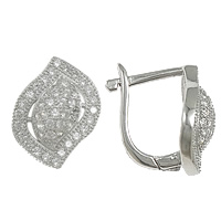 Cubic Zirconia Micro Pave Sterling Silver Earring, 925 Sterling Silver, Leaf, plated, micro pave 92 pcs cubic zirconia, more colors for choice, 10x13x13mm, Sold By Pair