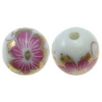 Printing Porcelain Beads, Round, multi-colored, Hole:Approx 2.5mm, Sold By PC