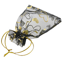 Organza Gift Bag, with heart pattern, more colors for choice, 98x123mm, Sold By PC