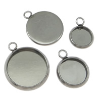 Stainless Steel Pendant Setting, Flat Round, different size for choice & Customized, original color, Hole:Approx 1.5mm, Sold By PC