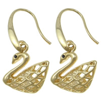 Crystal Jewelry Earring, Zinc Alloy, with Crystal, brass earring hook, Swan, plated, with Czech rhinestone & hollow, more colors for choice, nickel, lead & cadmium free, 18x35x6mm, 12Pairs/Bag, Sold By Bag