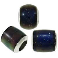 Enamel Mood Beads, with brass core & Plastic Sequin, Mixed Shape, platinum color plated, change their color according to the temperature, nickel, lead & cadmium free, 5.5x6mm-7.5x8mm, Hole:Approx 3-4mm, 500PCs/Lot, Sold By Lot