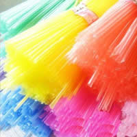 Plastic Origami Folding Straw, Tube, mixed colors, 40mm, Approx 30PCs/Lot, Sold By Lot
