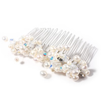 Decorative Hair Combs, pearl, with Austrian Crystal & Crystal Thread & Zinc Alloy, platinum color plated, faceted, white, Sold By PC
