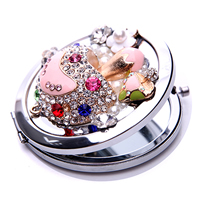 Iron Cosmetic Mirror, with Crystal & Glass & Zinc Alloy, Flat Round, plated, enamel & with rhinestone, 70x70x15mm, Sold By PC