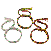 Friendship Bracelets, Wool, woven pattern, mixed colors, Length:Approx 7.5 Inch, Sold By Strand