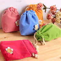 Velveteen Drawstring Bag, with Wood, Rectangle, more colors for choice, 160x140mm, Sold By PC