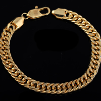Gets® Jewelry Bracelet, Brass, 18K gold plated, rope chain, nickel, lead & cadmium free, 8mm, Length:Approx 8 Inch, Sold By Strand