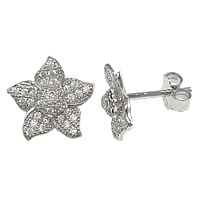 Cubic Zirconia Micro Pave Sterling Silver Earring, 925 Sterling Silver, Flower, plated, micro pave cubic zirconia, more colors for choice, 11x11mm, Sold By Pair