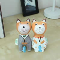 Wood Decoration, Cat, brushwork, carved & for couple, 135x55x30mm, 150x30x35mm, 90mm, 30x10x3mm, 3PCs/Set, Sold By Set